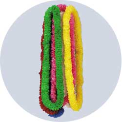 assorted color plastic leis