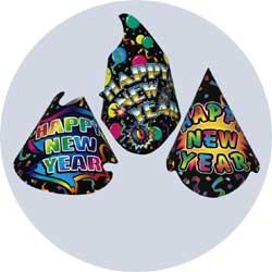 black new years party hats