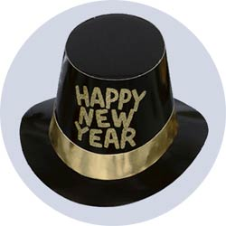new years hats deluxe black with gold