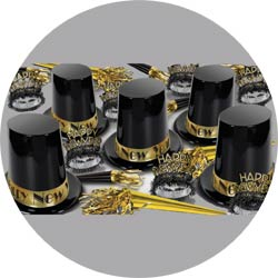 the big top hat gold assortment 88311bkgd50 new years party kit