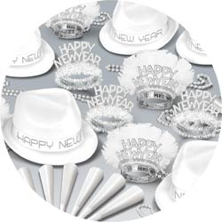 chairman white assortment 88939-w50 new years party kit